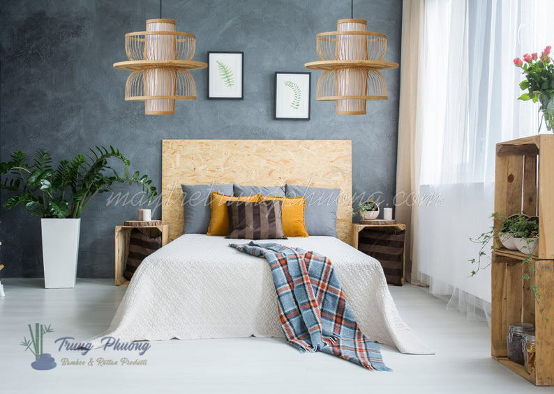 đèn thả tre trang trí phòng ngủ