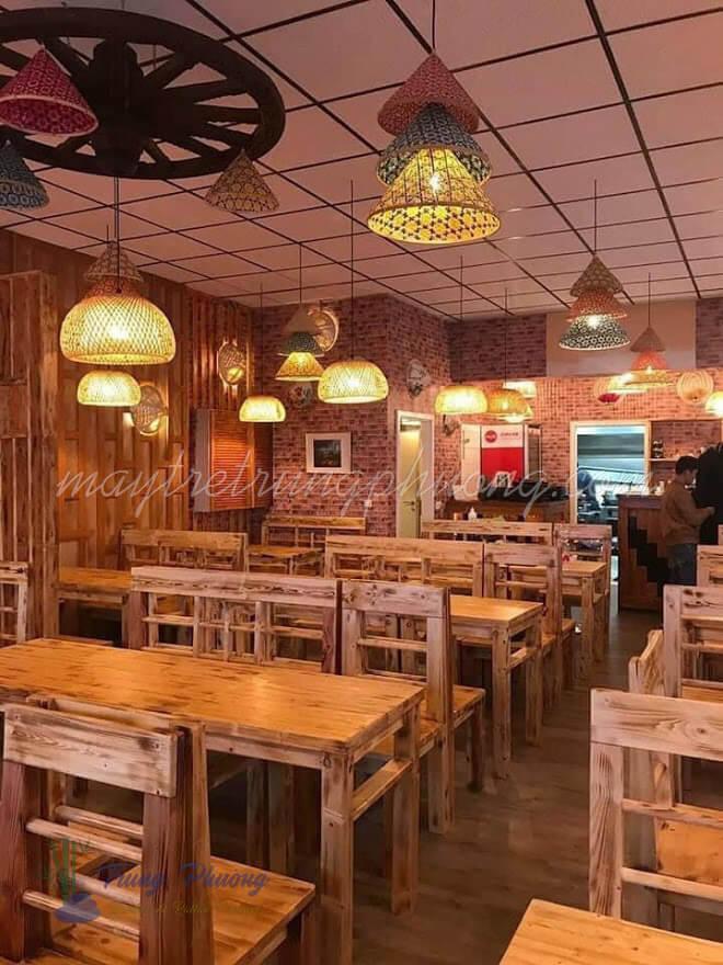 Đèn nón tre trang trí nhà hàng