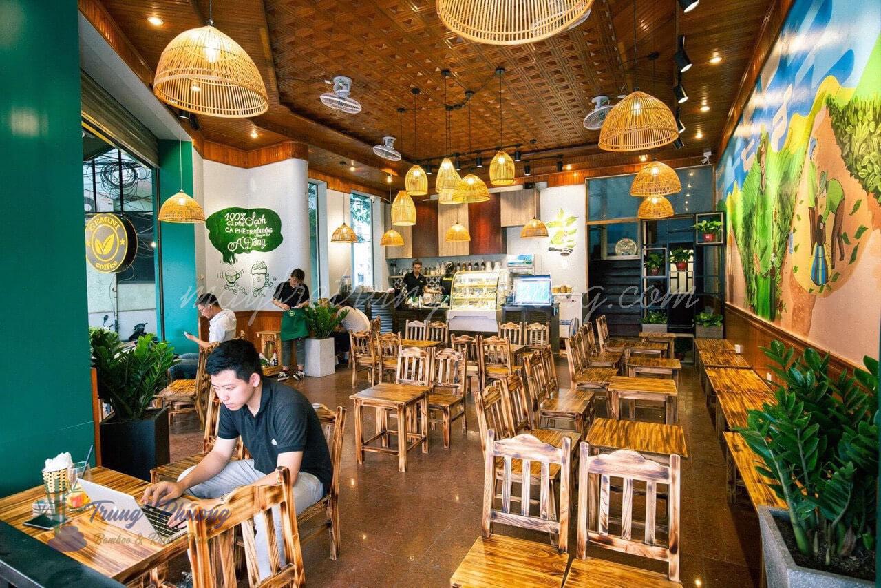 đèn mây tre trang trí quán cà phê