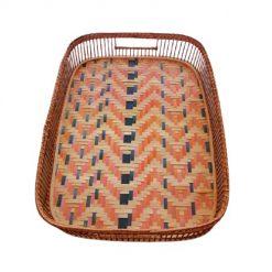 Khay tre chữ nhật đáy đan mê