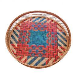 Khay tròn tre đáy đan mê hoa văn