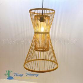 đèn lồng tre hình đồng hồ cát có trụ giữa