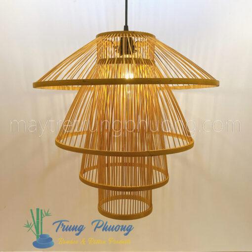 đèn thả mây tre đan hình cây nấm nhiều tầng