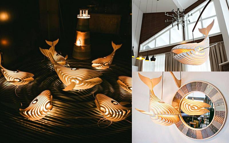 Đèn thả gỗ hình con cá mập