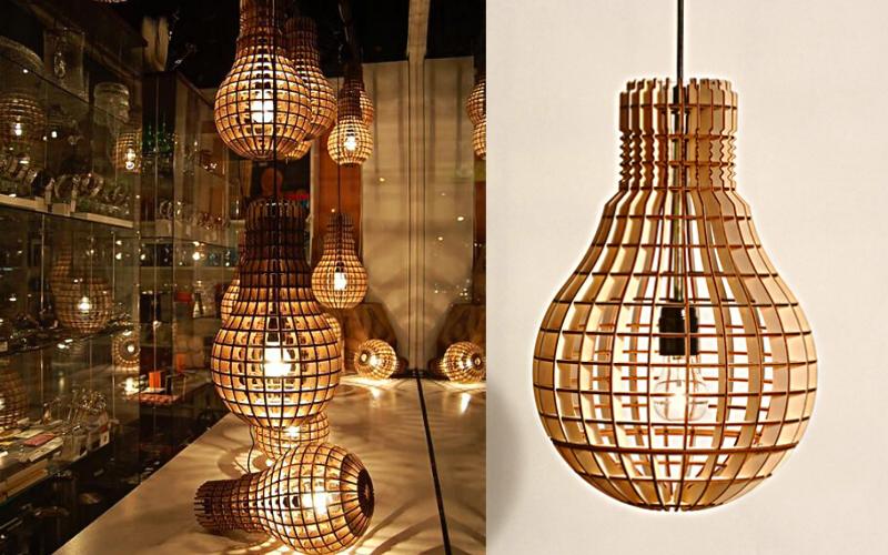 Thiết kế đèn thả gỗ làm tăng độ lung linh cho không gian