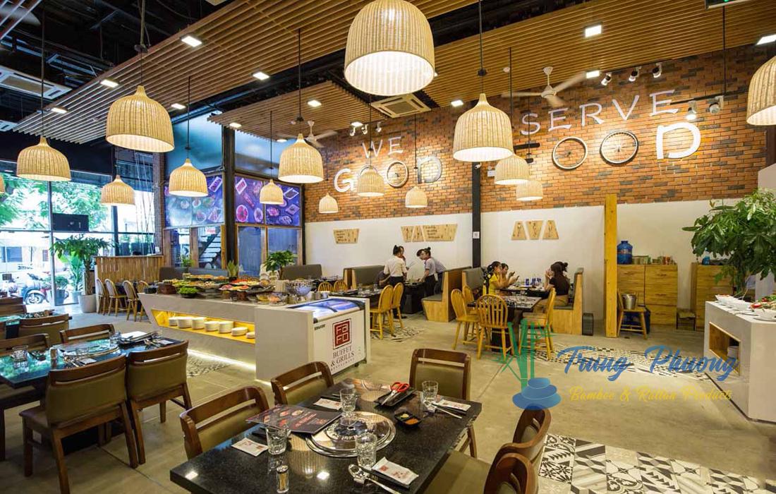 Đèn mây trang trí nhà hàng buffet