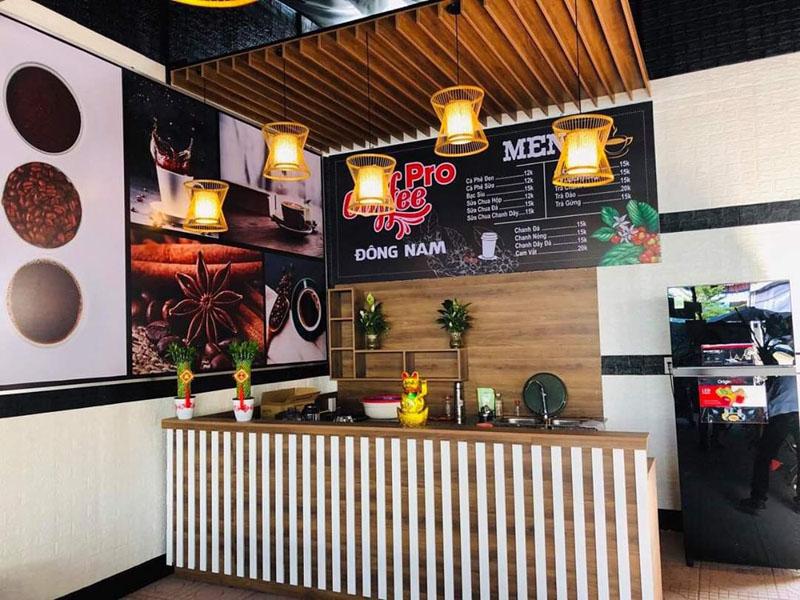 Đèn mây tre trang trí quầy bar quán cà phê